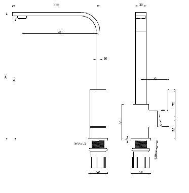 KVADRATO Dřezová baterie BLQ x65D